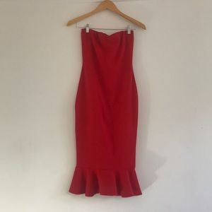 Missguided Red Bandeau Bodycon Dress